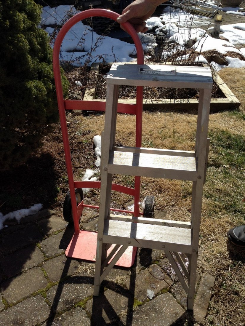 2 step step ladder and hand truck