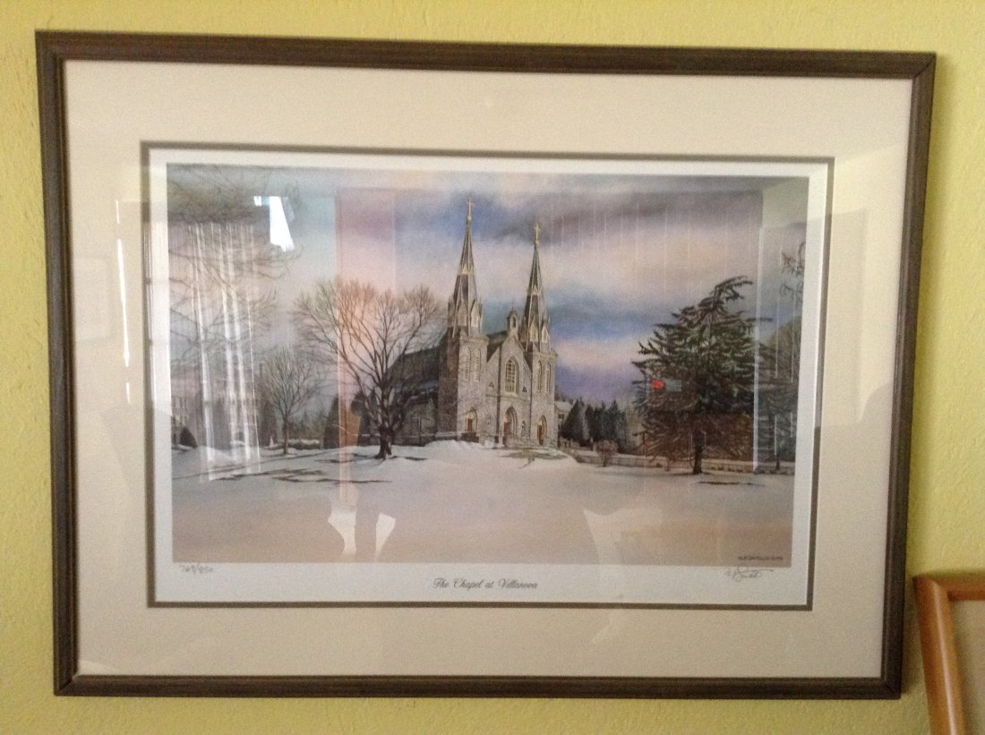 "Framed print of ""Chapel at Villinova"" Numbered and"