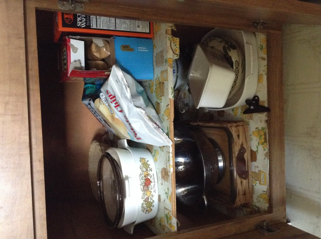 bottom cabinets right side of dishware
