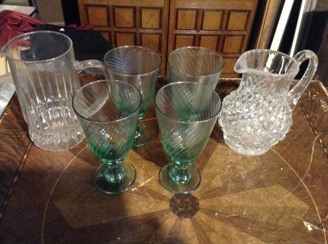 Crystal glass water pitcher and drinking goblets