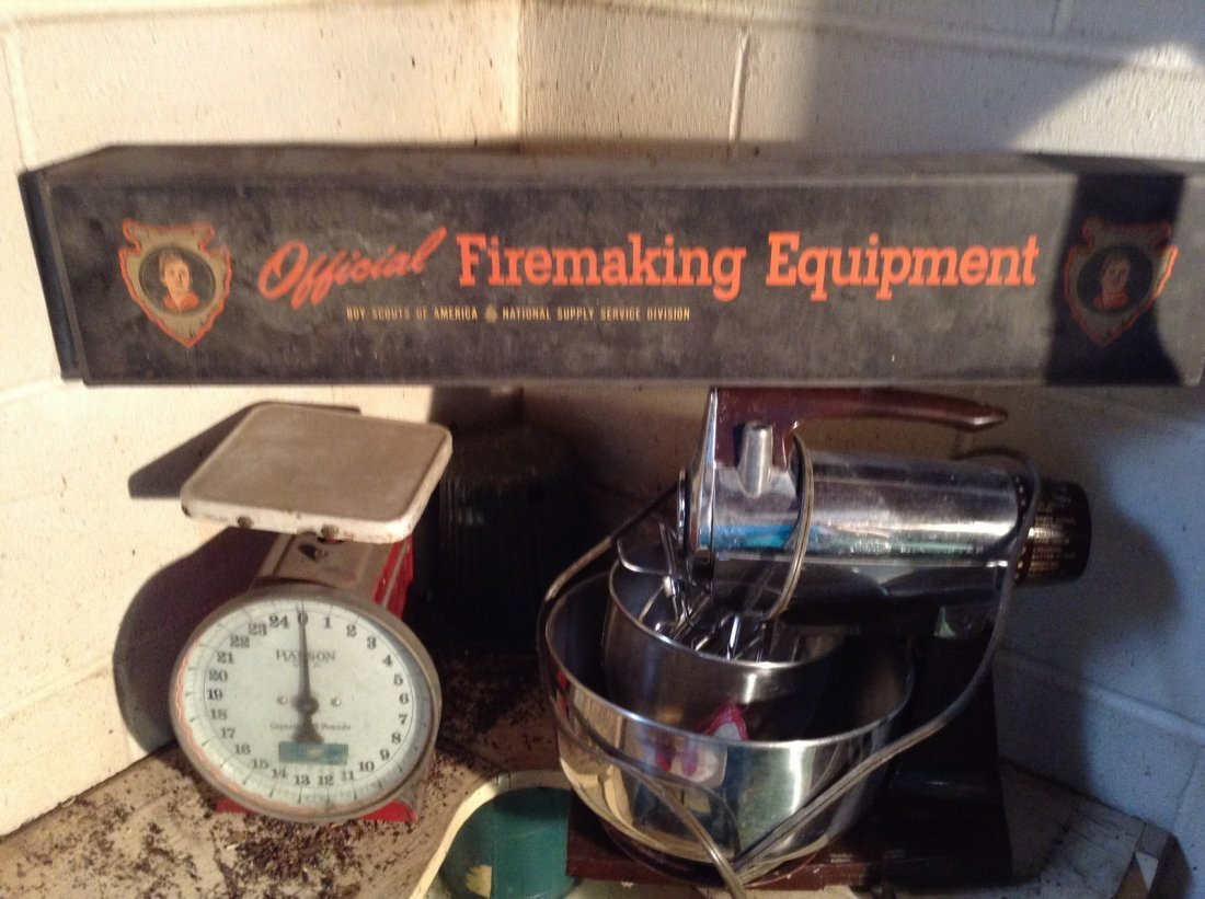 boyscout and vintage kitchen items