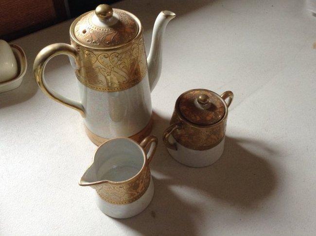 Gold Jasper ware Tea pot with cream and sugar