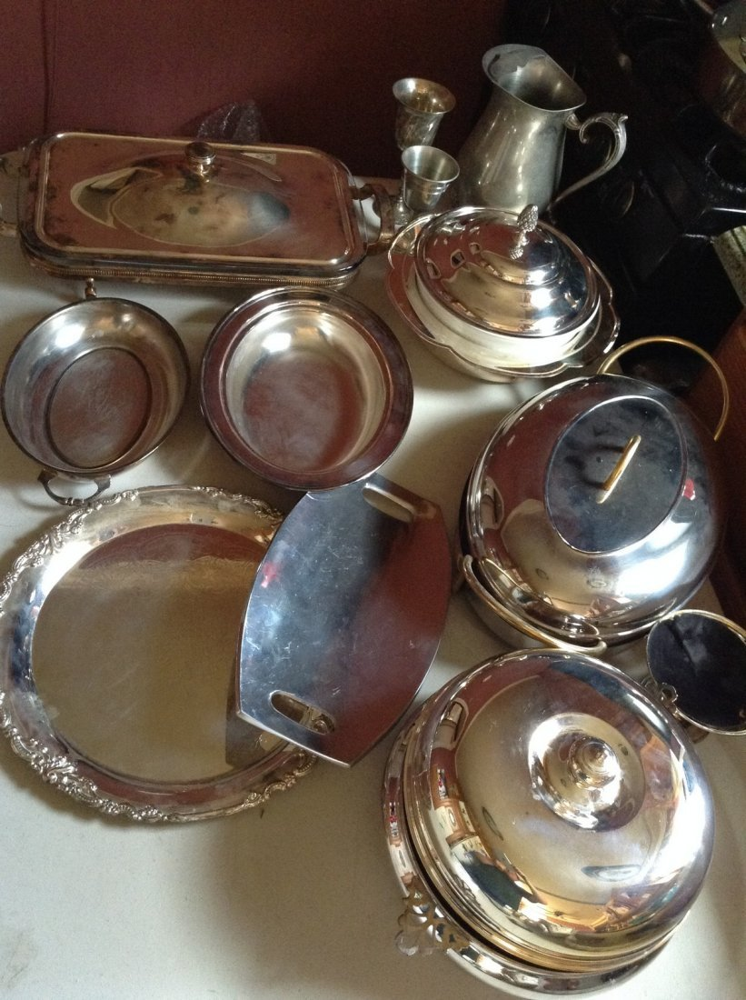 Large amount of silver plate serving pieces
