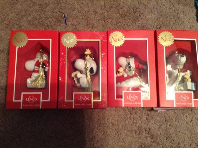 4 Lenox Christmas Snoopy Ornaments
