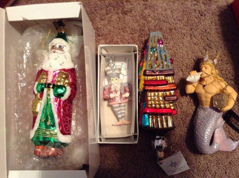 Set of 3 Radko Christmas Ornaments and 1 December