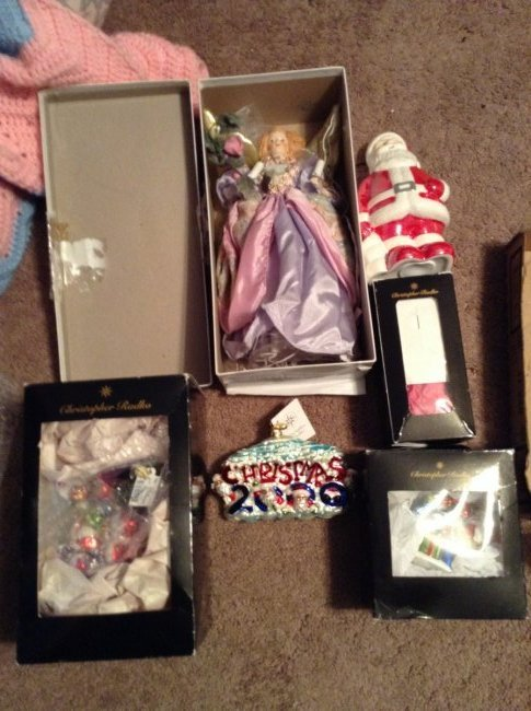 4 Radko Christmas Ornaments; Santa figure and a