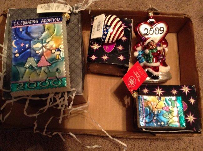 Lot of 4 Radko Adoption Christmas Ornament with tags