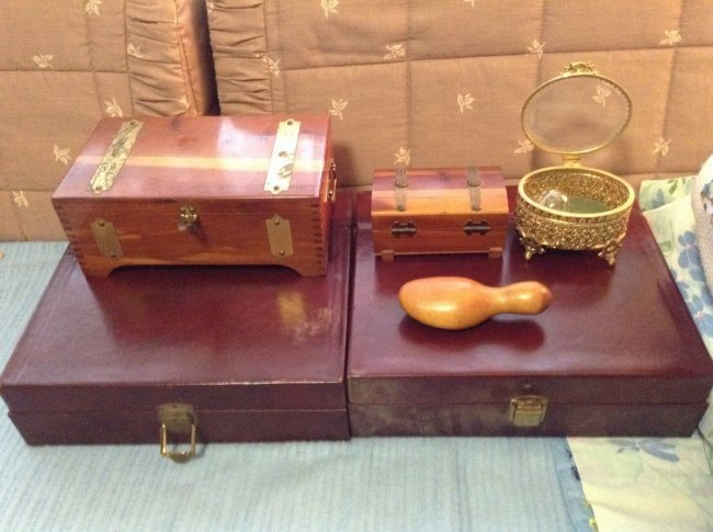 Lot of Trinket Boxes, and a crystal dove