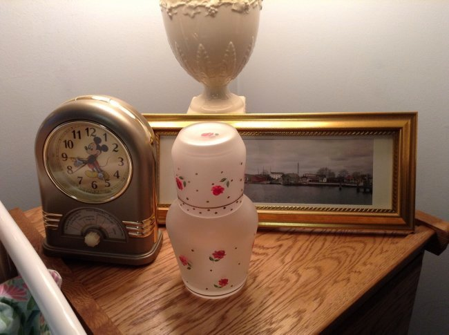 Milk Glass Lamp, hand painted vase, Mickey Mouse clock, - 2