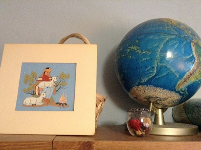Early 3D Globe, basket, Navojo print and jar
