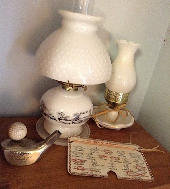 Milk Glass kerosen and Electic lamp, contents on top of