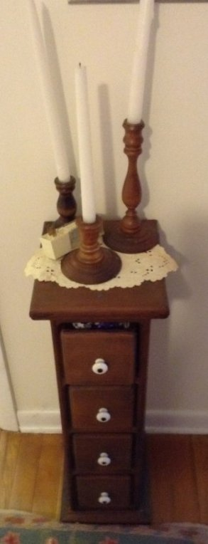 Candle Sticks. Whatnot Cubby and Contents