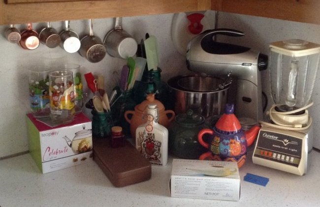 Top of Counter Mixer, Blender, Blue Mason jars, Peanut