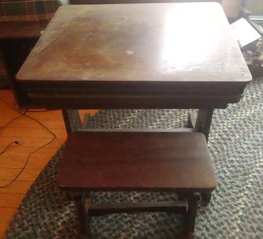 1926 School Desk with The paper scrolls