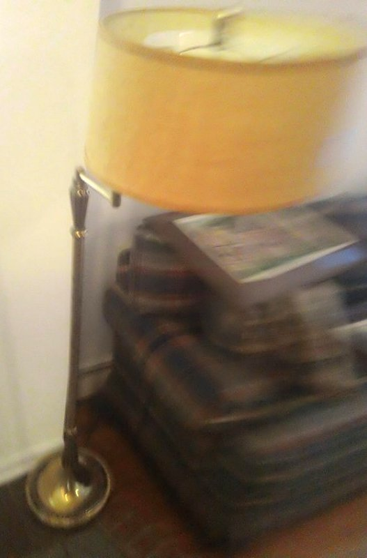 Mid century swing arm brass floor lamp