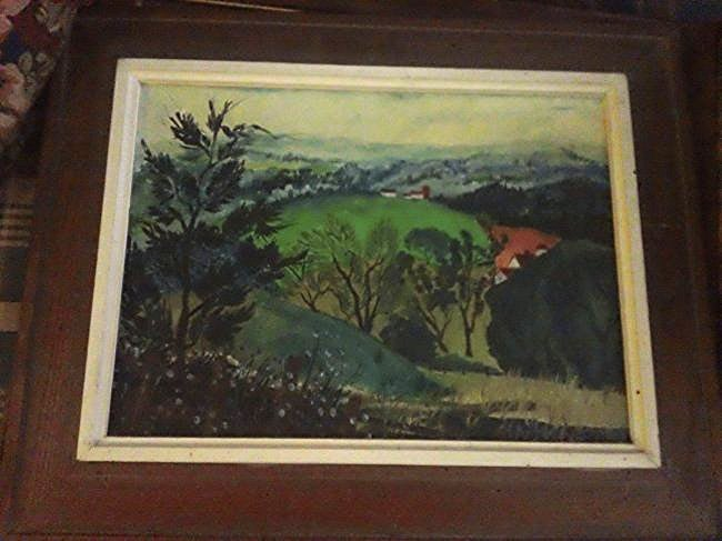 2 Oil on Board measures 12 x 16 Framed; 1 cartoon - 3