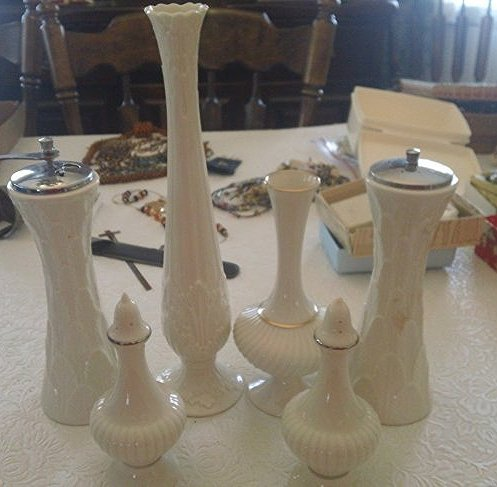 Lenox lot vases, Salt & Pepper with gold marking on