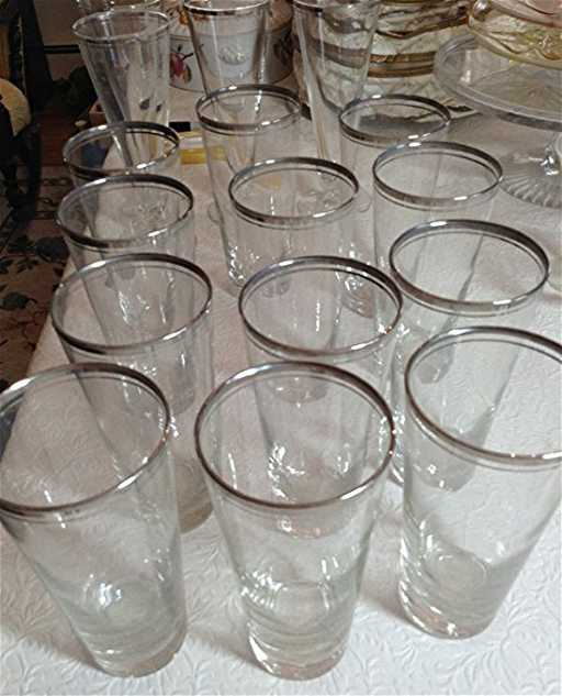 337305e9608d Dorothy Thorpe Mid century Beer glasses silver rim