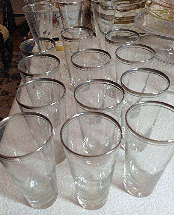 Dorothy Thorpe Mid century Beer glasses silver rim