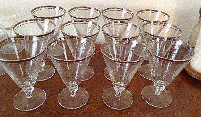 Dorothy Thorpe Mid century Barware Silver rim Total 12