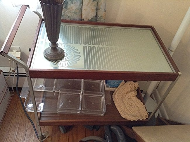 Mid Century serving cart with contents