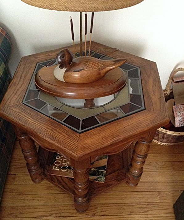 Leaded Glass Octagon shape end table - 2