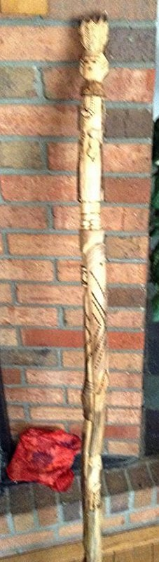 Hand Carved walking stick with Indian Motiff