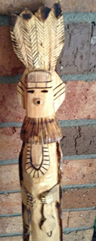 Hand Carved walking stick with Indian Motiff - 2