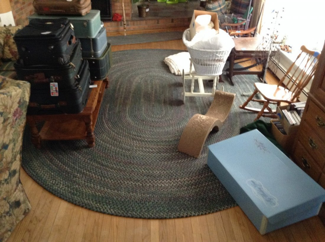 Vintage Wool Braided  room size rug