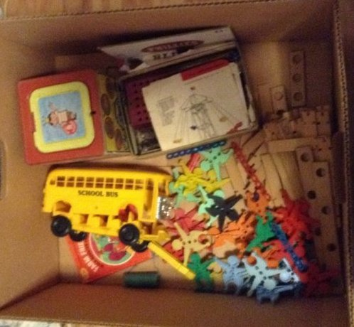 Box of vintage toys and erector set