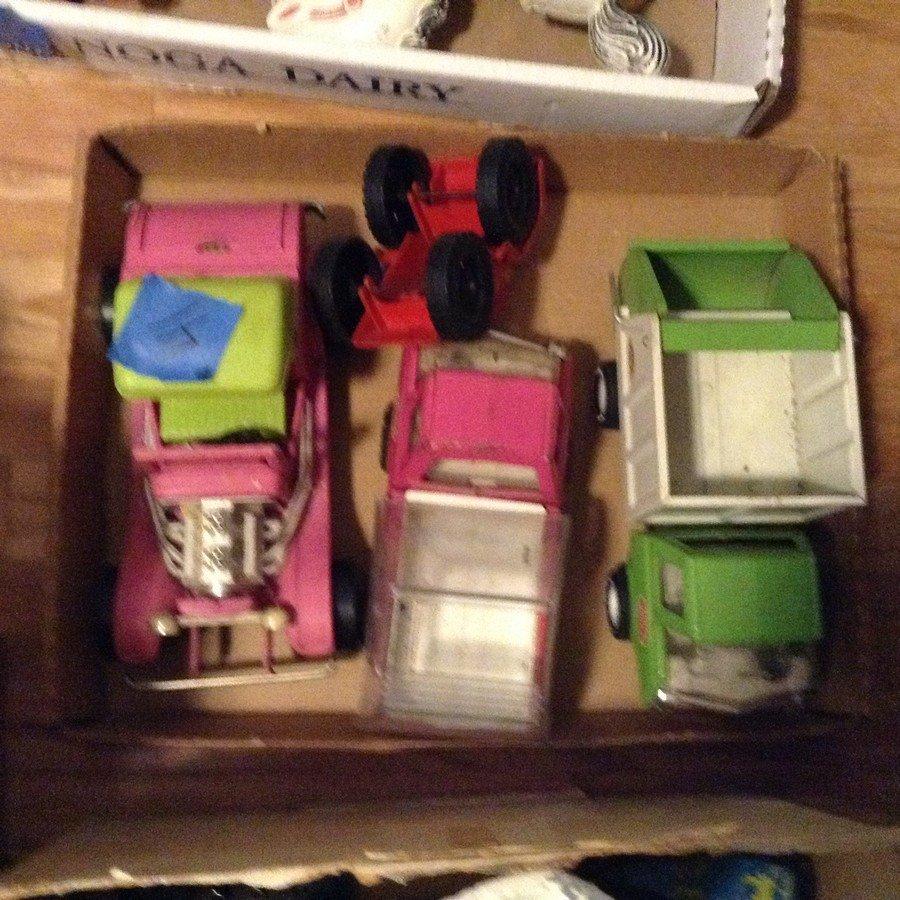 Box full of vintage tonka trucks