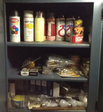 Contents of Green workbench cabinets