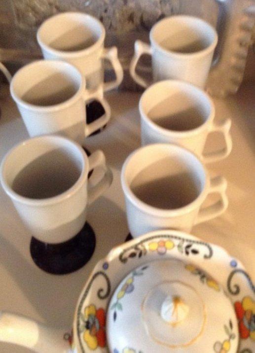 Hall coffee mugs and tea pot