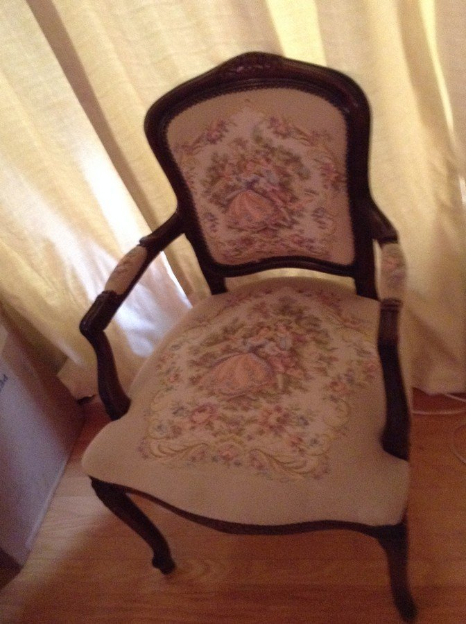 Hand stitched/ hand carved side chair