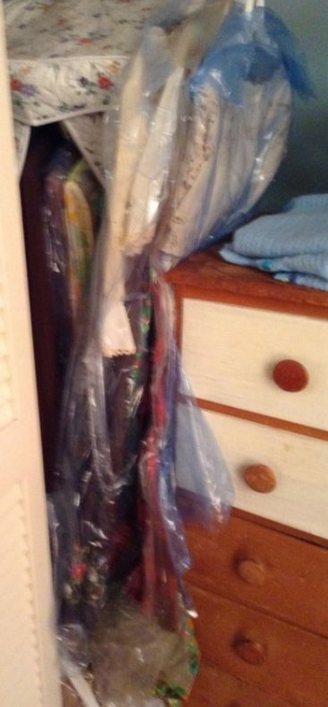 Closet contents, vintage clothing , drapes and more