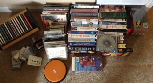Lot of VHS tapes, Cds and cassettes and DVDS