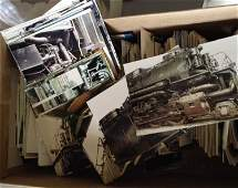 Box full of train pictures