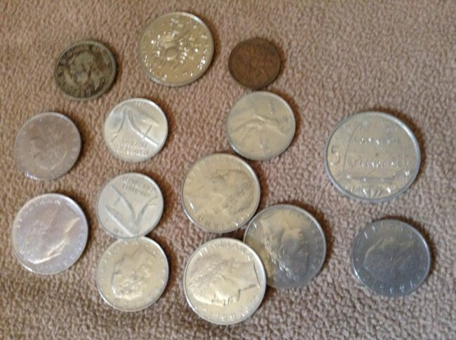 Vintage foreign coins: some silver