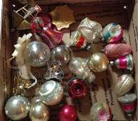 Box full vintage Christmas ornaments