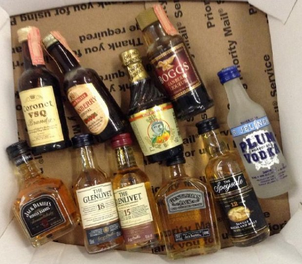 Lot of 10 Miniture LiquorBottles