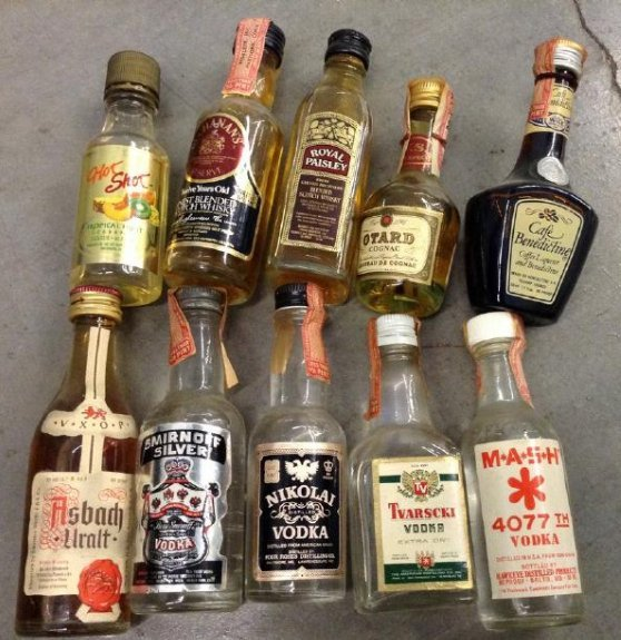 Lot of 10 Miniture LiquorBottles