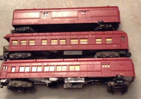 3 Red American Flyer Trains