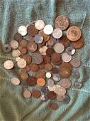 LOT OF FOREIGN COINS EARLY DATES AN SOME SILVER