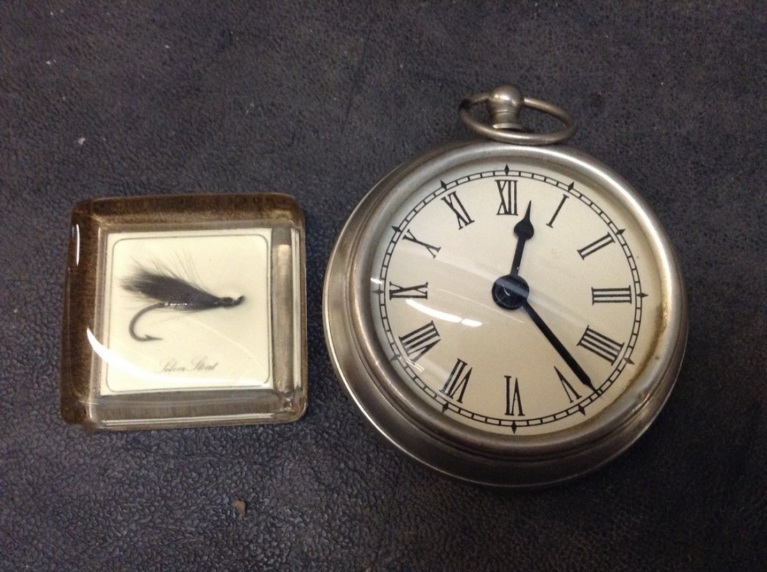 Paper Weight - Fishing & Clock