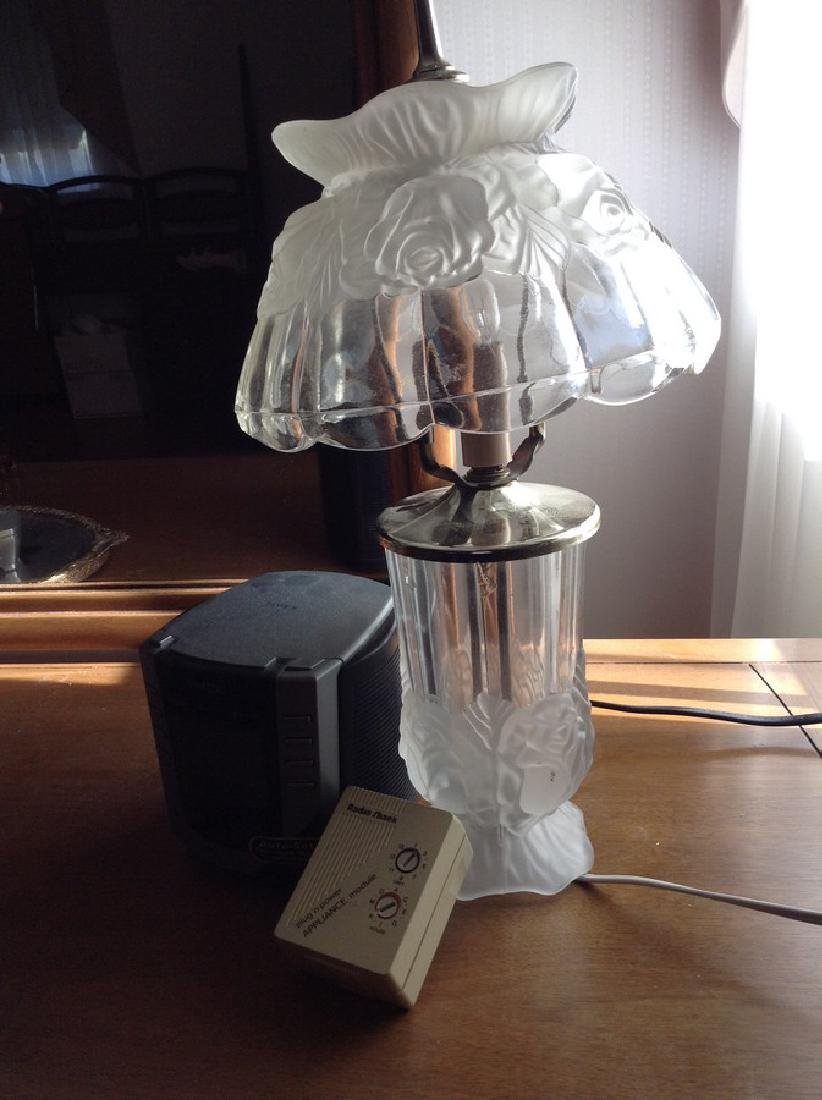 Frosted Glass Lamp & Aarm Clock