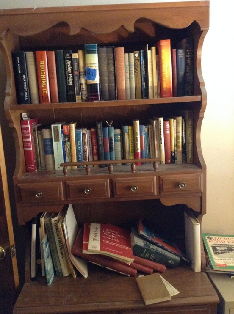 3 Shelves of books; some leather bound