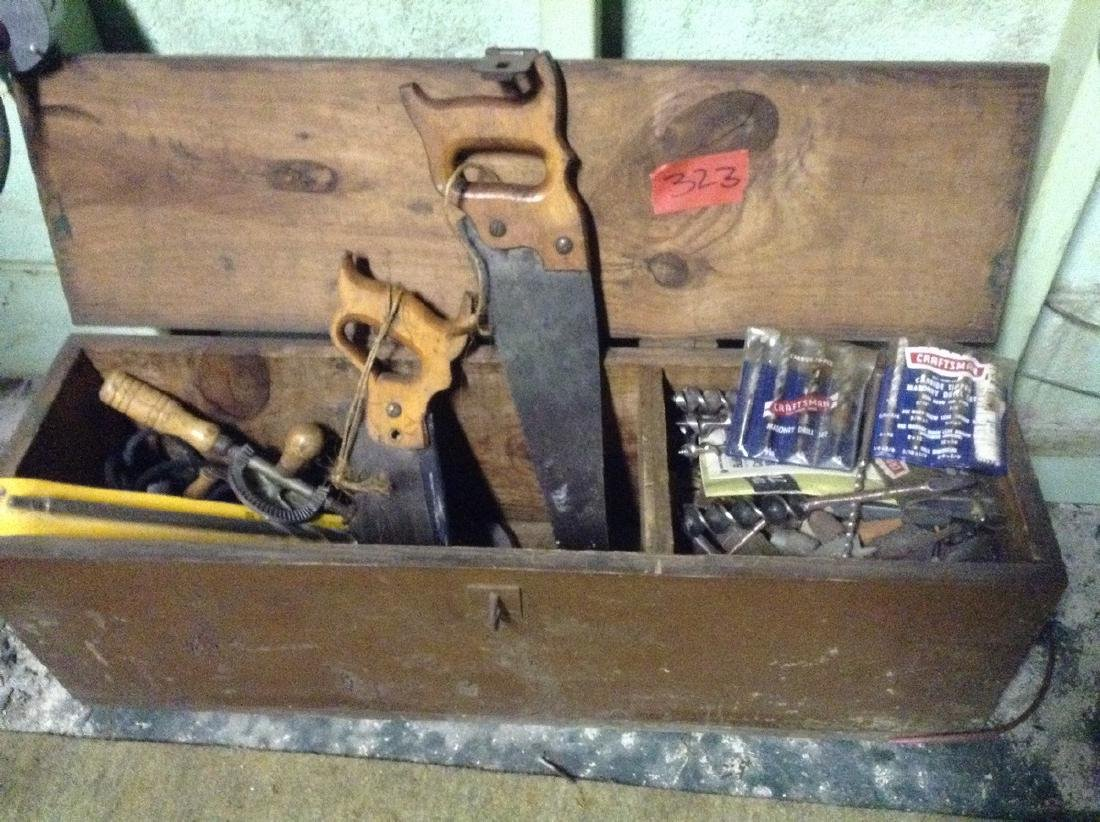 Vintage Carpenter toolbox with tools