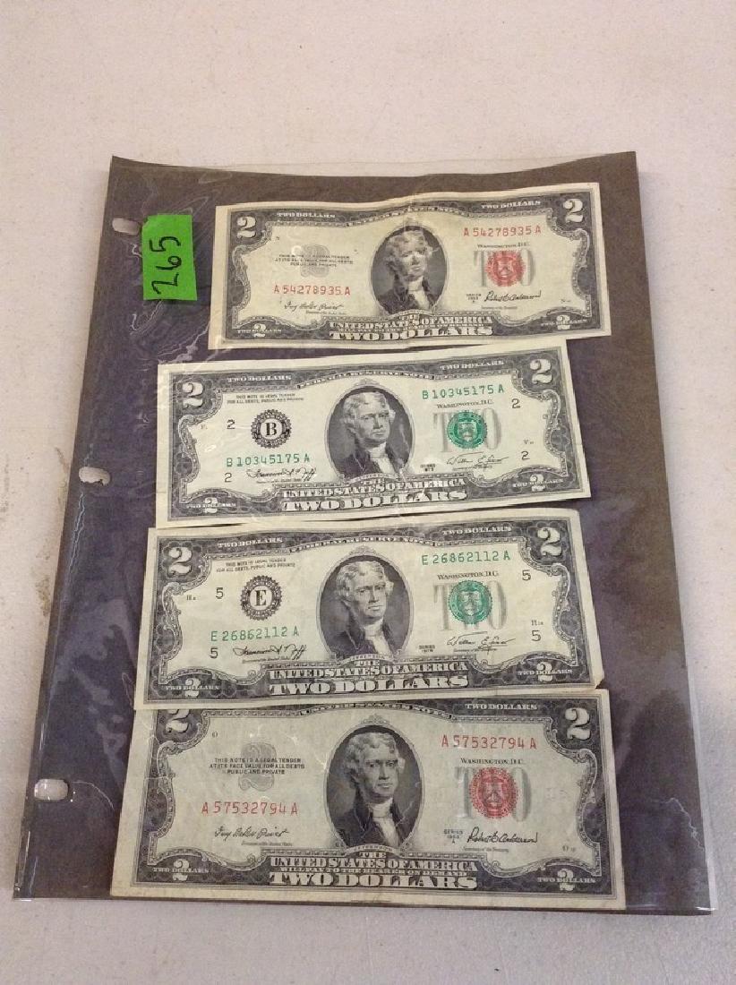 4 $2.00 Two Dollar Bills
