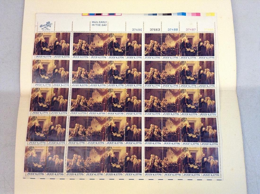 USPS Vintage 13 cent Stamp Sheet July 4, 1776