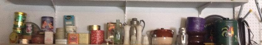 Vintage Canister Set; bottles & tins